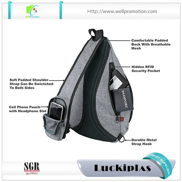 b694fe7bc Grey canvas crossbody laptop sling chest pack bag for men shoulder bag with phone  holder