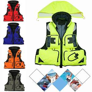 CAMTOA Professional EPE Foam Life Jacket,Top Fashion Sports Adult Safety Life Vest - Keep Warm Flotation Multi-function Survival Vest for Safety Fishing Swimming Boating Drifting