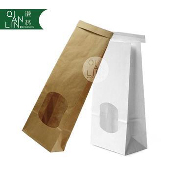 Oem Bag Manufacturer Tin Tie Kraft Paper Bags With Clear Window Brown Food Packaging Sandwich