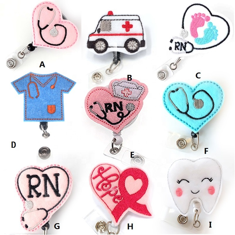 Cheap Felt handmade knitting new design Stethoscope medical RN nurse Retractable id badge holder reel clip, As picture