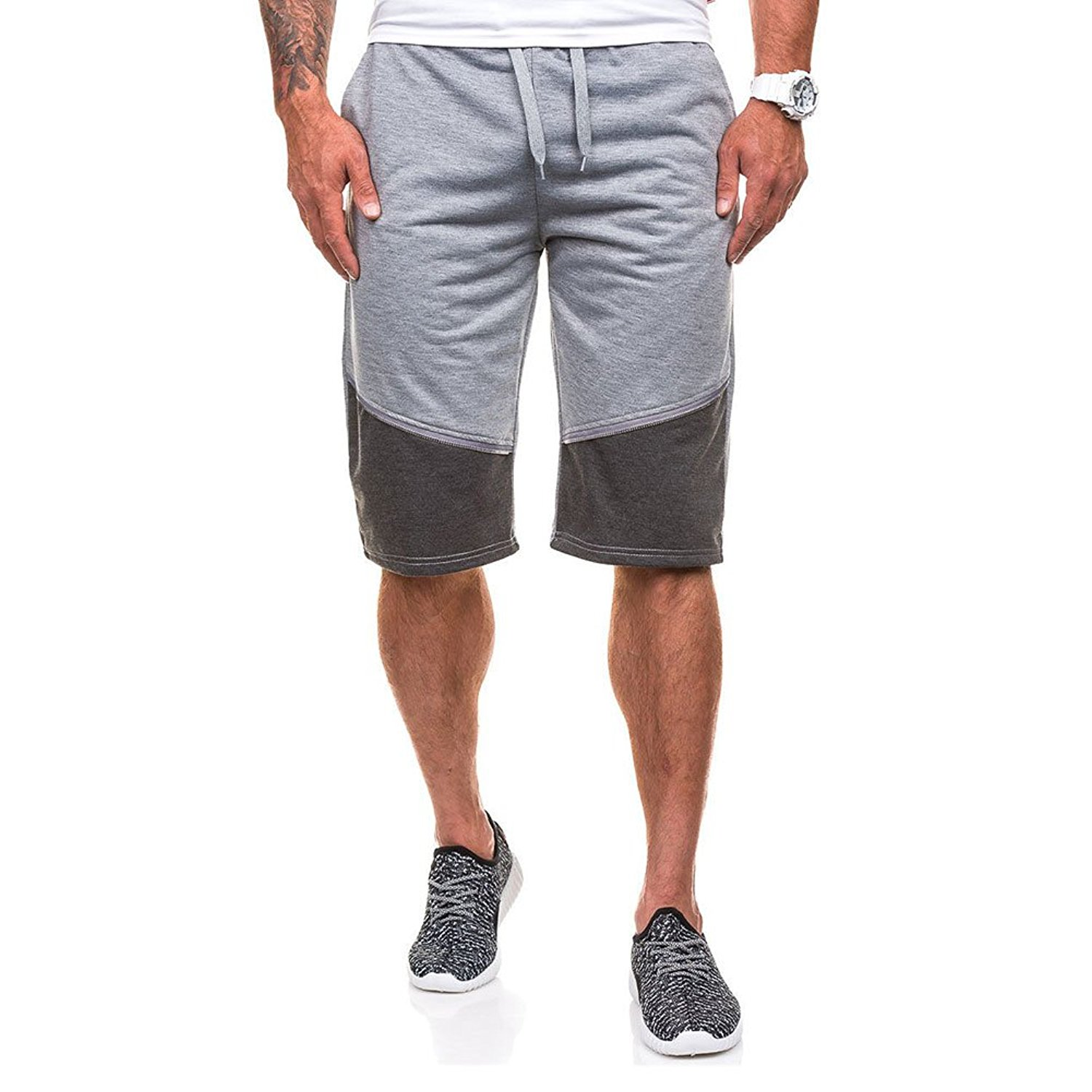 MUSE FATH Mens Casual Sport Shorts, Loose Fit and Elastic Waist Sweat Shorts, Jogger Shorts