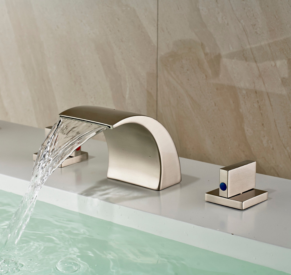 Waterfall Spout Bathroom Faucet: Waterfall Spout Bathroom Sink Faucet Widespread Basin