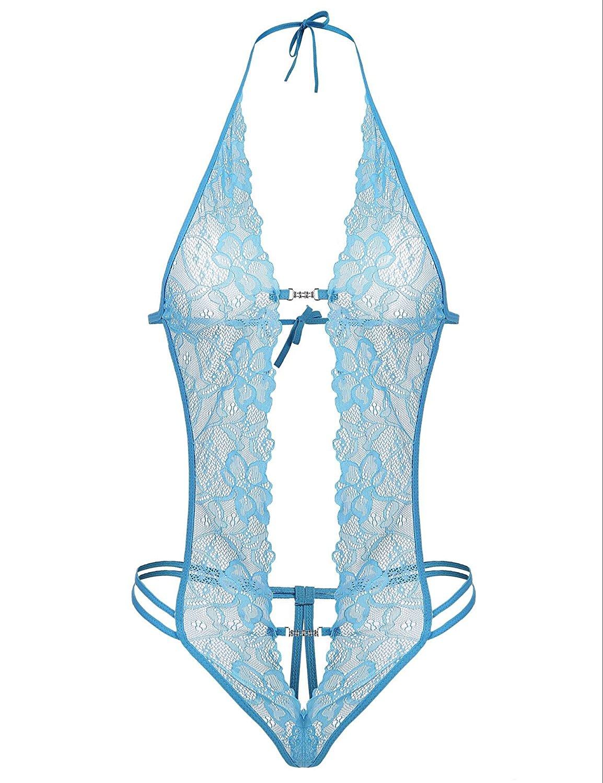 Aimado Women Sexy Lace Lingerie Deep V Babydoll Halter Lace Bodysuit S-XXL