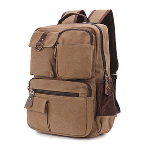 Men's 14 Inch Laptop Vintage Canvas School Backpack Travel Daypack With Oversize