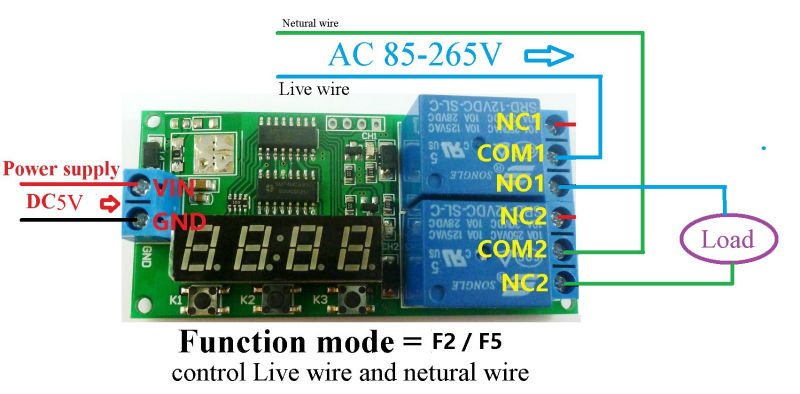 DC5V 2 Channel Multi-function Delay Cyclic Timer Relay ... Dc To Ac Wiring Diagram Semiconductor on