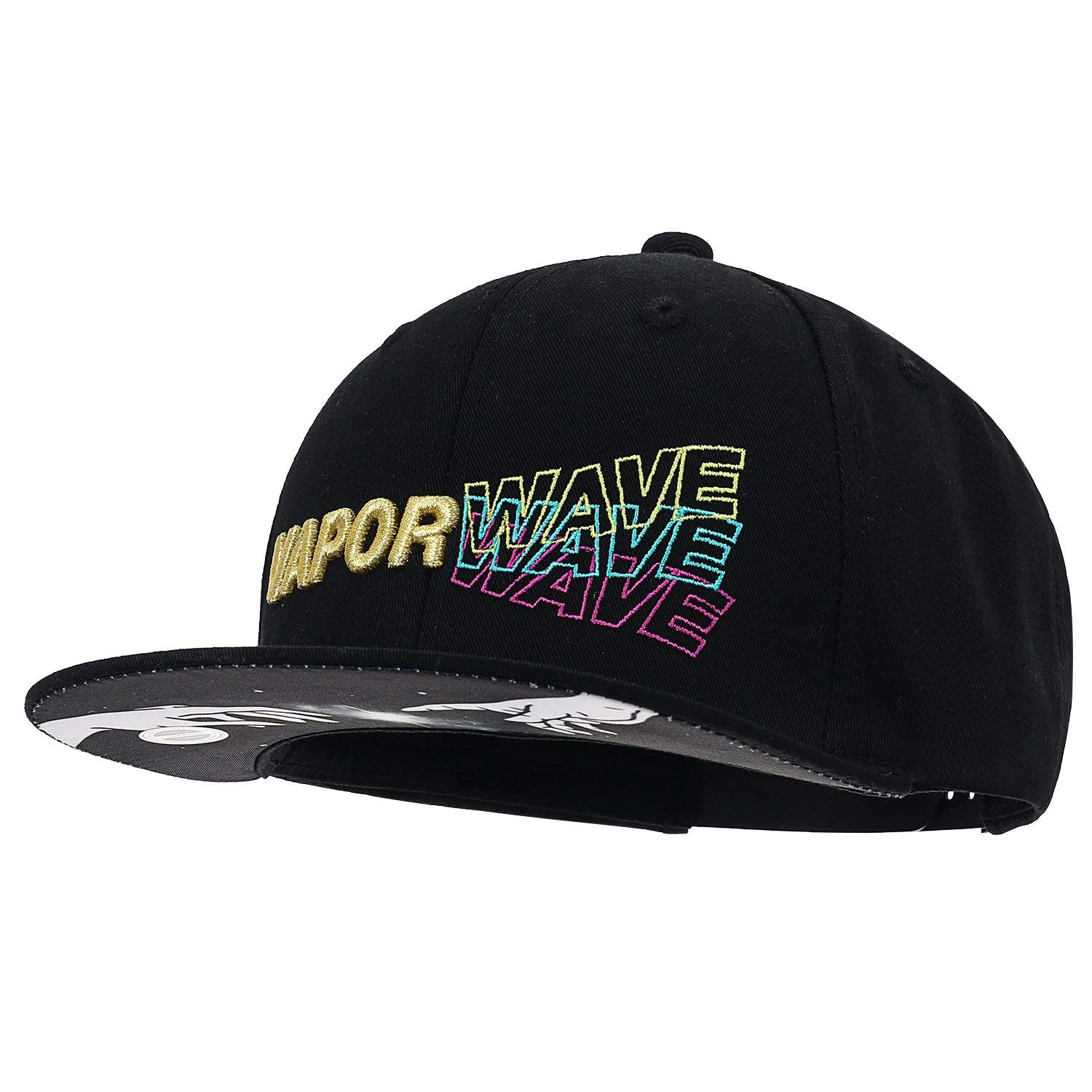 abfeded727c66d Get Quotations · ililily Vaporwave Embroidery Trucker Hat Cotton Flat Bill  Snapback Baseball Cap