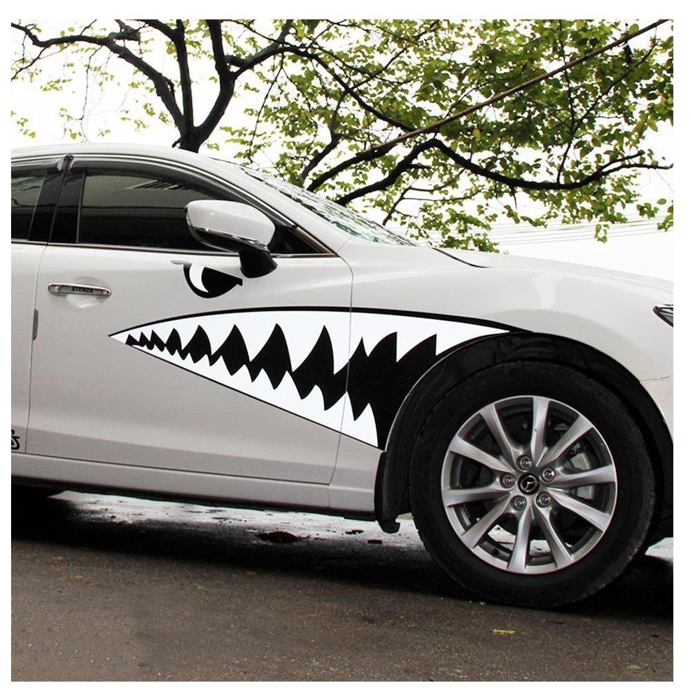 Ruip cartoon shark mouth emblem car body decals car styling accessory big mouth waterproof paper stickers
