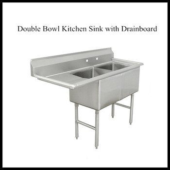 4 Legs Stainless Steel Commercial Double Bowl Kitchen Sink ...