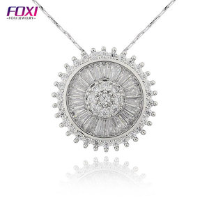 rhodium plated pizza pendant necklace neck choker white zircon pendant
