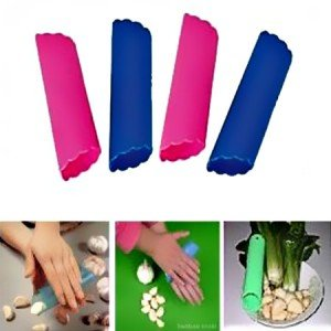 Kitchen A group of three Convenient Soft Resin Tube Shaped Reusable Magic Handheld Rolling Garlic Peeler Kitchen Tools