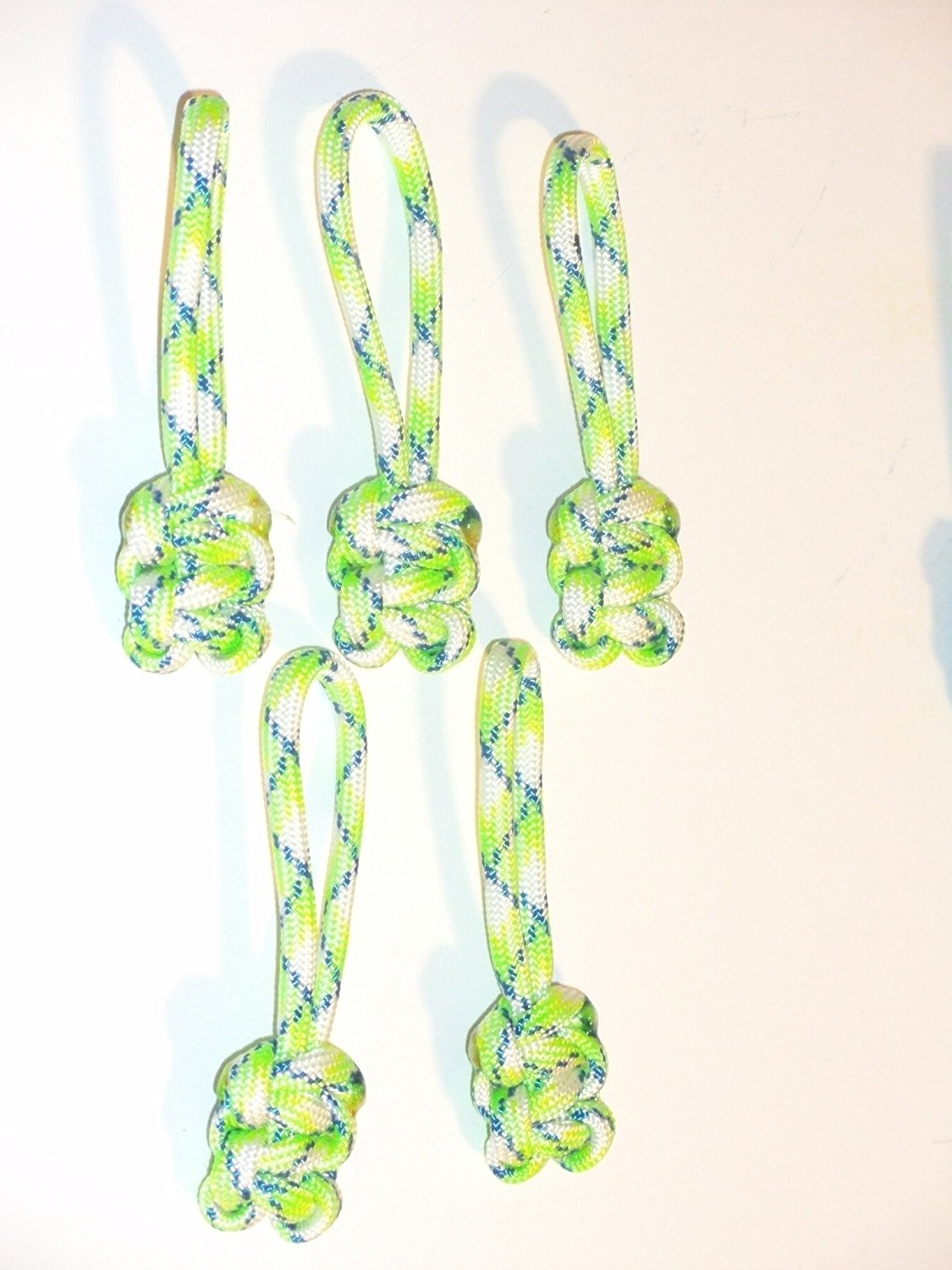 RedVex Paracord Zipper Pulls / Lanyards - Lot of 5 - ~2.5 - Green Flux