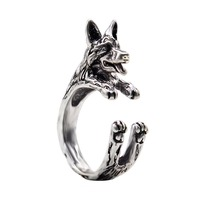 Vintage Unique Handmade Boho Chic Retro German Shepherd Ring Female and Male Pet Lovers Gift Idea Women Fashion Jewelry