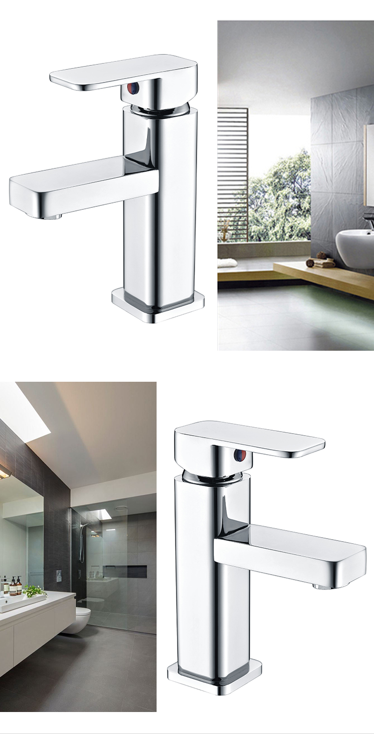 Desk Mounted Chrome Basin Mixer Tap Polished Square Bathroom Sink Faucet Wholesale