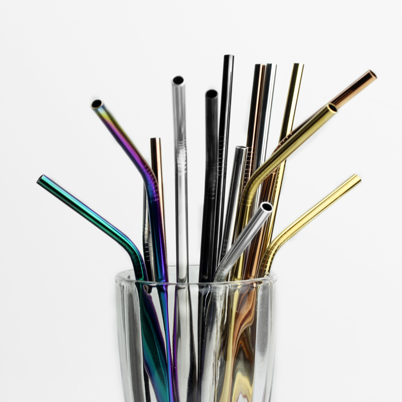 304 Straight and Bent Colorful Stainless Steel Drinking Straws with Brush