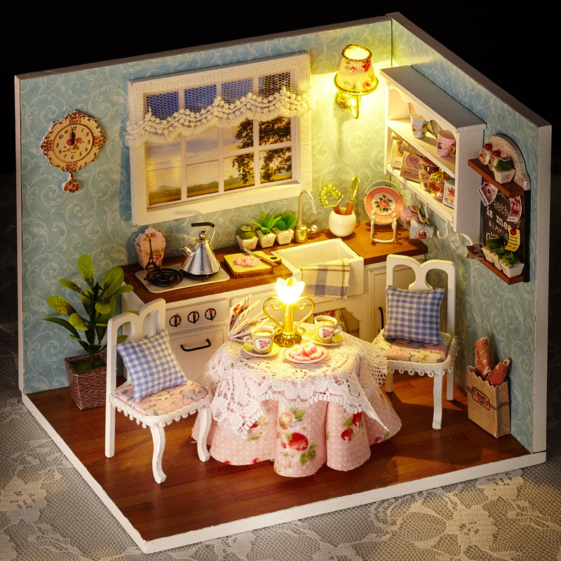 diy wooden miniatura doll house room box handmade 3d miniature dollhouse wood educational toys. Black Bedroom Furniture Sets. Home Design Ideas