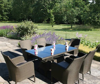 6 seater dining table and chair set outdoor poly rattan cheap patio furniture