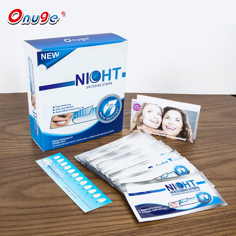 Helderder wit tanden whitening droge strips nacht gebruik, tanden whitening strips private label