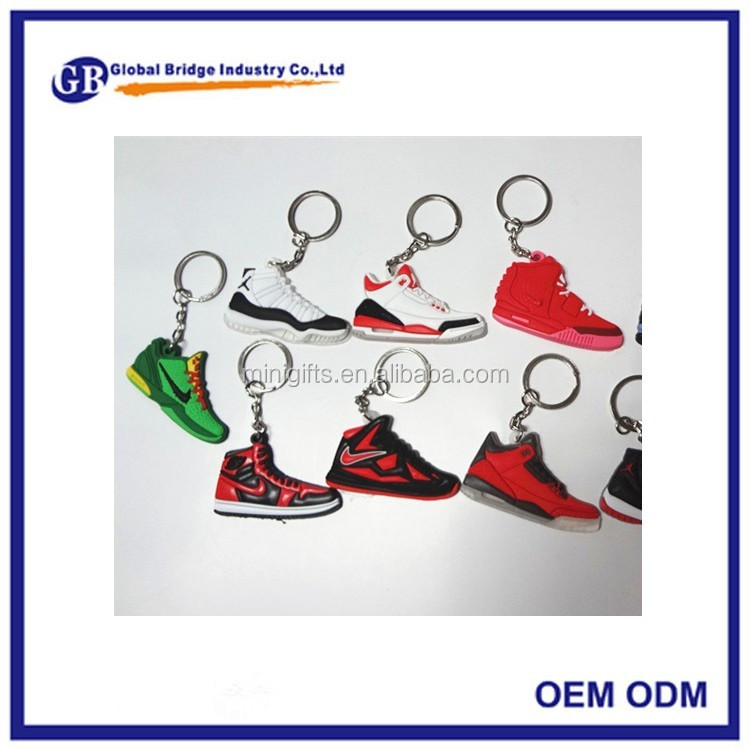 Custom Shoe Style air jordan 3d sneaker keychains mini running shoe keychain