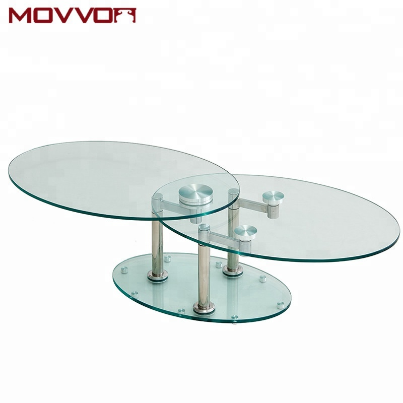 Modern Functional Tempered Glass Top Oval Full Swivel Coffee Tables With Stainless Steel Legs Buy Glass Coffee Table Oval Coffee Table Coffee Table Modern Product On Alibaba Com