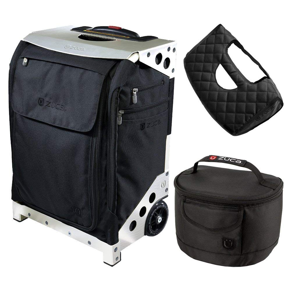 ZUCA Flyer Travel Black Bag/Silver Case w Pouches, Gift Seat Cushion & Lunchbox