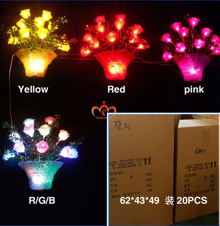 2016 wedding decoration led crystal rose flower lights