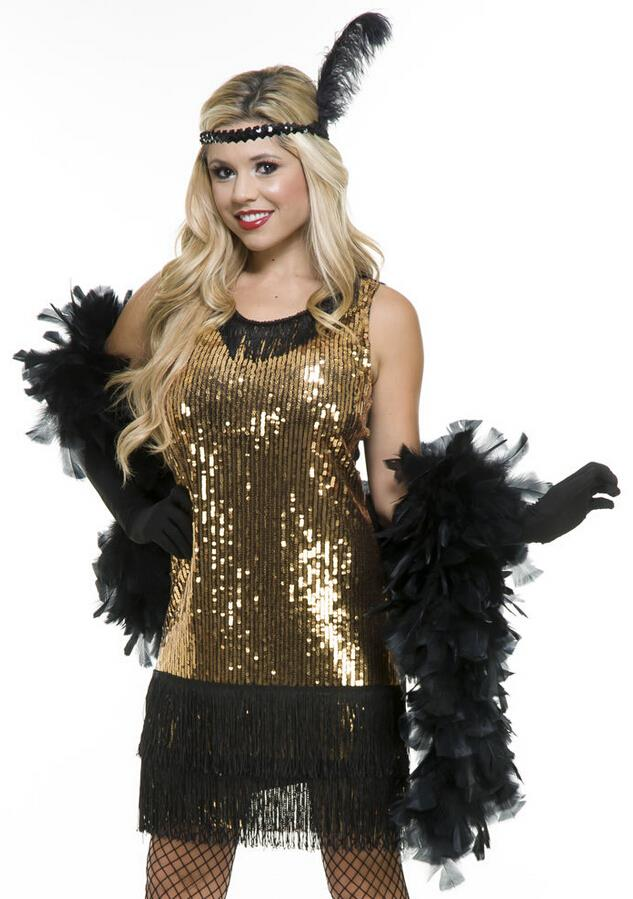 get quotations free shipping hot sell custom made womens sexy gold glitter flapper 20s halloween cosplay costume tailor