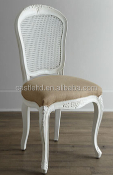 Hand Carved White Finished Wooden Shabby Chic Upholstered Dining Chair