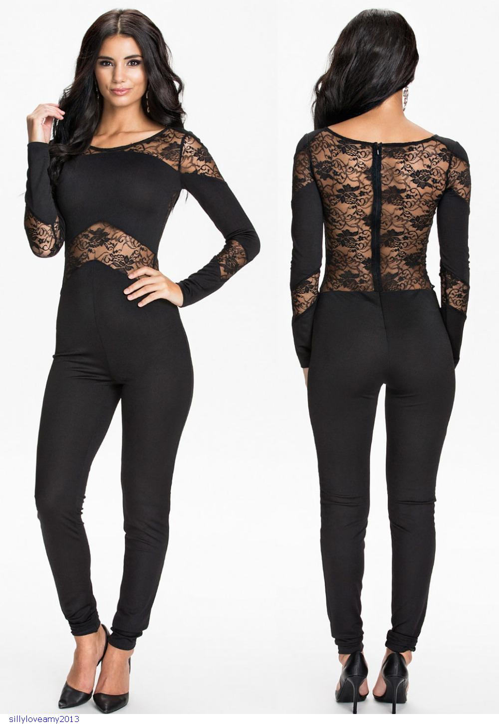08bc0ca889b8 Get Quotations · 2015 Women Sexy Jumpsuit Fashion Black Long Sleeve  Hollow-out Lace Bodycon Jumpsuits Rompers Club