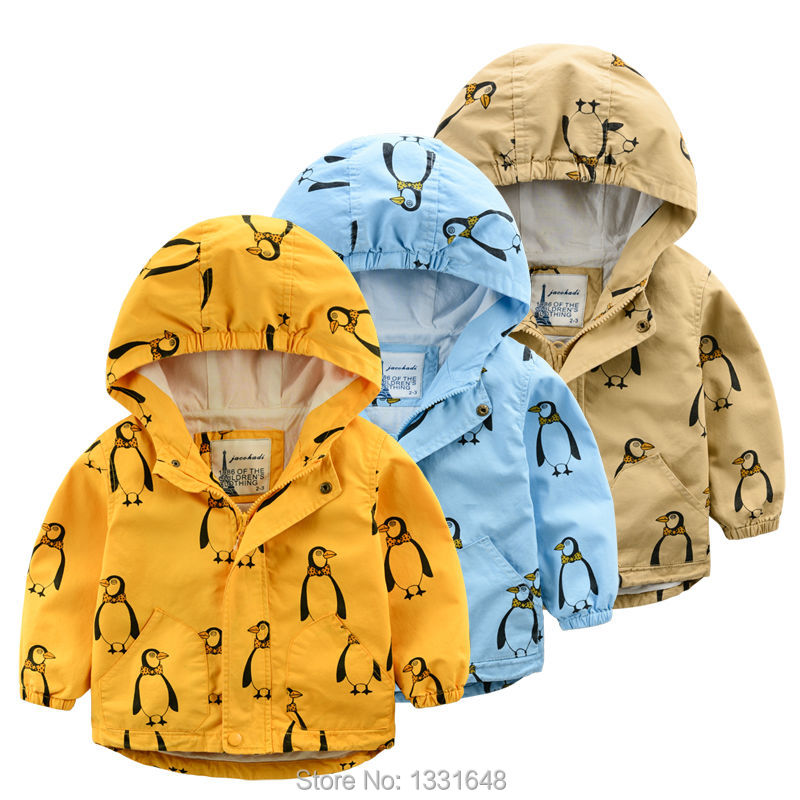 Boy jacket hooded 2016 spring new fashion boys clothes cotton kids outerwear cartoon printed children jackets
