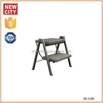 Steel 2 Step Rolling Kitchen Folding Stool Ladder