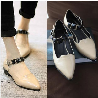 european 2014 genuine american leather and flat pointed stones casual shoes newest singles spring word buckle large fashion rSzSqE