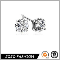 Factory direct good quality round shaped 5mm silver plating diamond stud earrings