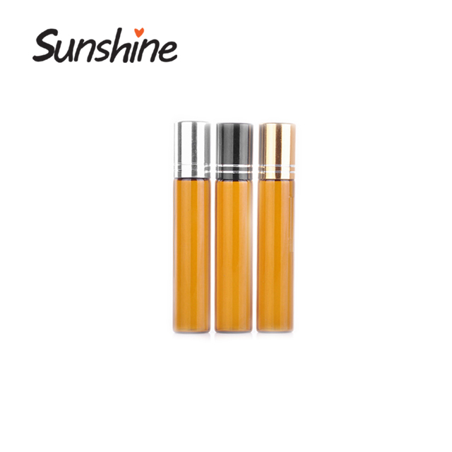 Wholesales amber color 10 ml vials e liquid glass roller on bottle