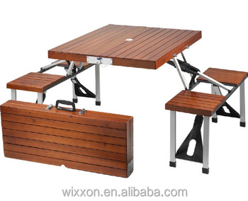 Wooden Folding Picnic Table Set Bench And