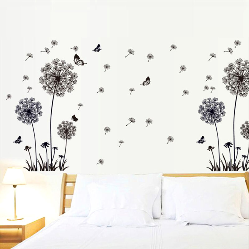 New Arrival Creative DIY Vinyl Art Natural wallpaper Decor Butterfly Dandelion Wall Sticker Mural PVC Home Decor Wall Stickeres