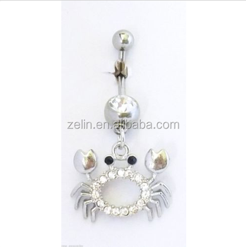 The New Novelty Navel Belly Piercings Crab Clear Animal Dangling Navel Belly Rings Free Belly Button Jewelry Buy Hanging Belly Button Rings Fake