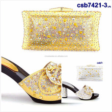 Top fashion wedding african white italian shoes and bag beautiful crystal italian shoes and bag in stock