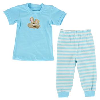 Wholesale light blue happy easter pjs 100% cotton baby clothes children's  pajamas sleeping wear short