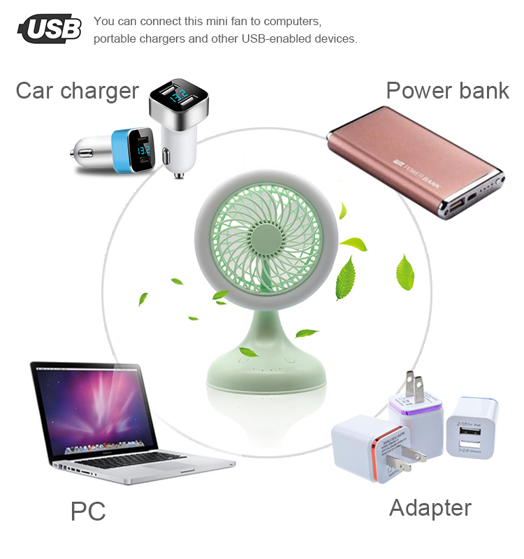 2019 Losky Top Quality 3 Speeds Electric Portable Mini Fan
