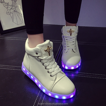 MN16120510 2016 new fashion lady LED light USB charging fluorescent shoe casual light up shoes