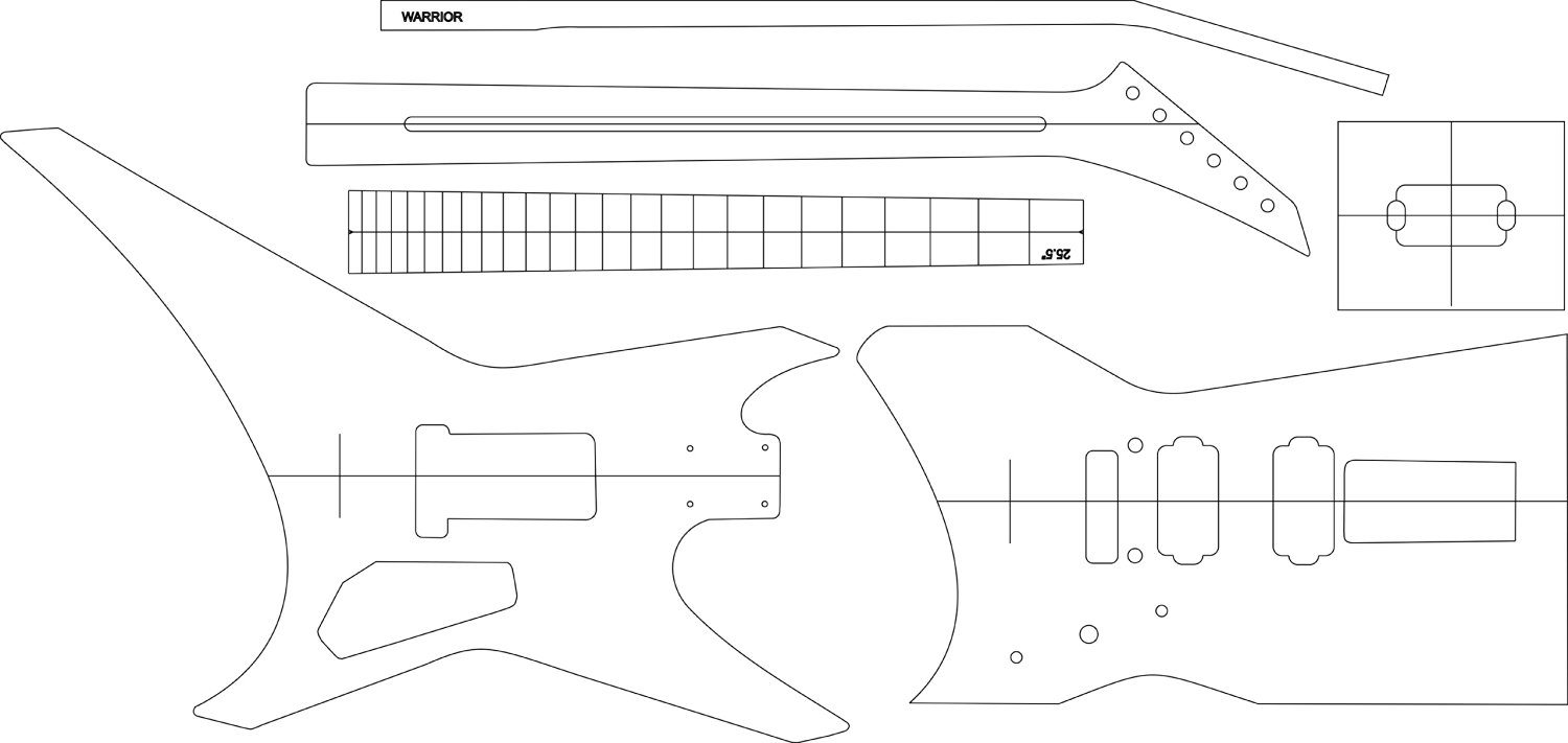 Buy Electric Guitar Layout Template Warrior In Cheap Price On