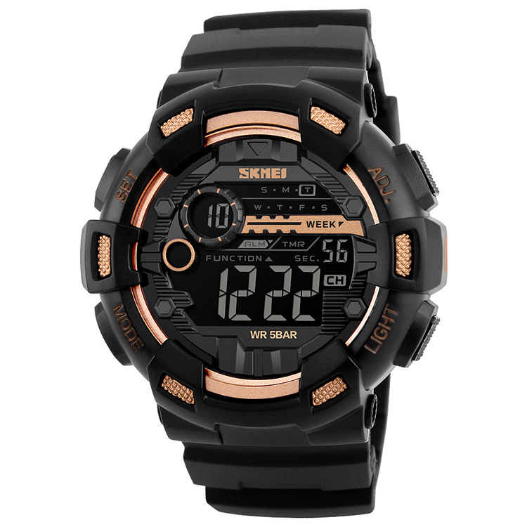 hot selling SKMEI 1243 dual time mens sports digital watches with instructions manual, 3 colors