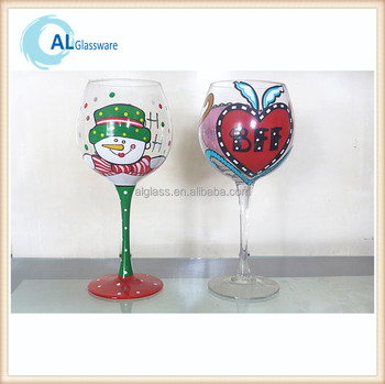 Oem christmas painted wine glass patterns with snowflake for Christmas glass painting designs