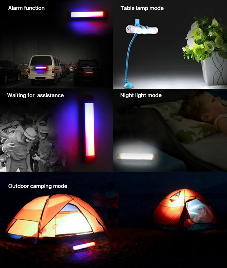 Multi-functional 70 hours Portable colorful emergency USB rechargeable led camping light