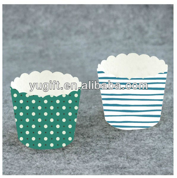 wholesale baking paper cups for cakes good price Green dots from foshan yuguitang gifts