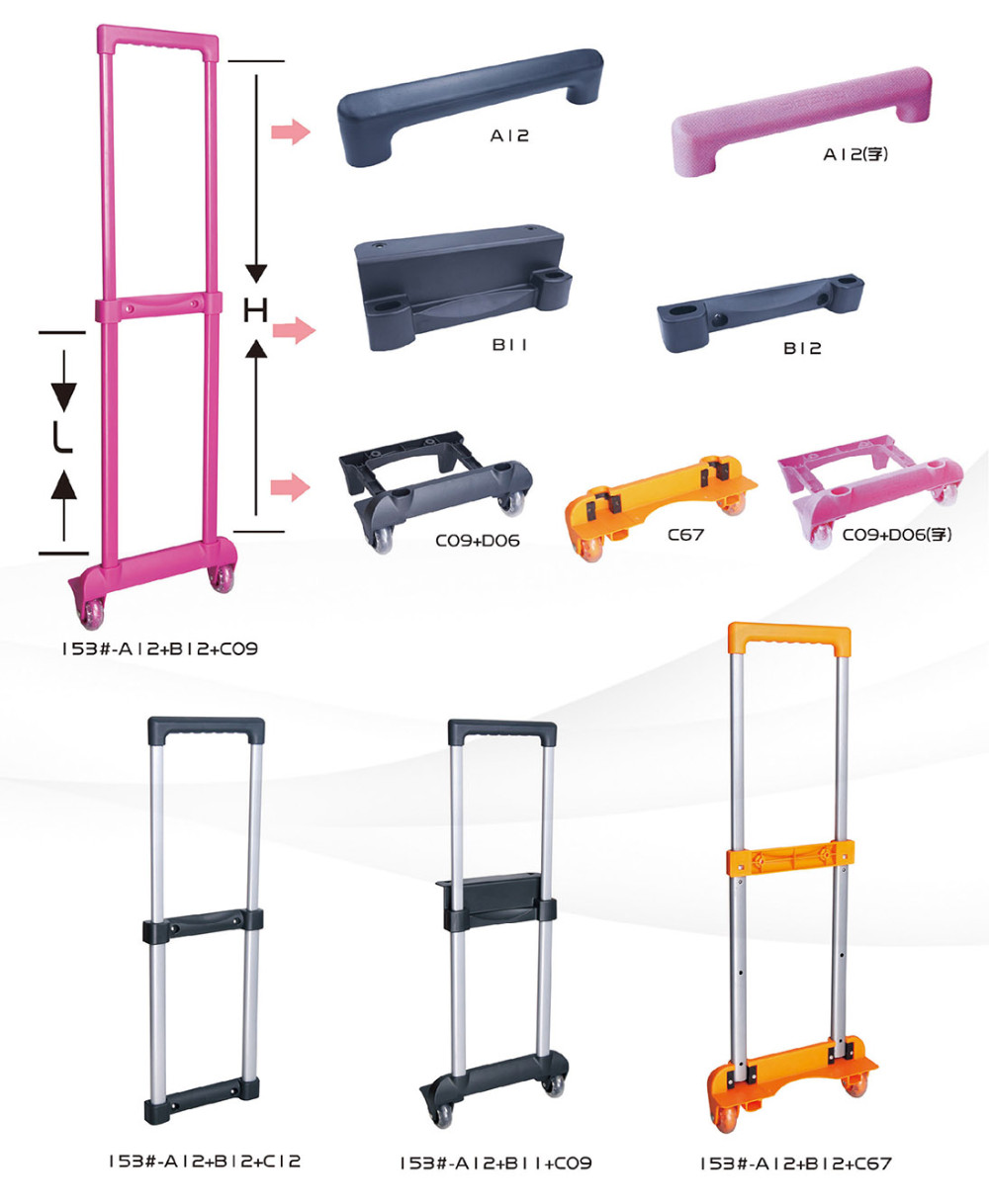Colorful Aluminum Retractable Trolley Telescopic Luggage Cart Handles