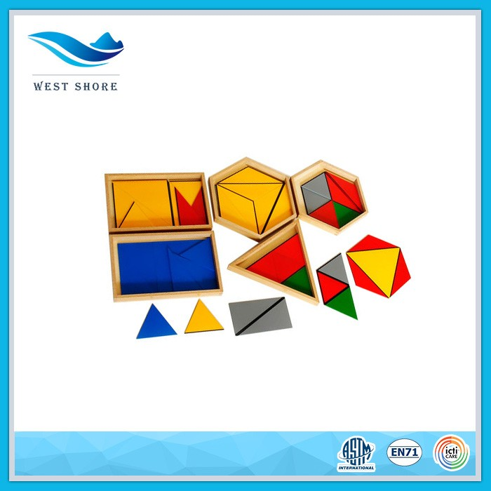 Manufacturer Wholesale montessori educational kit for kids baby gift Constructive Triangles