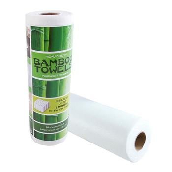 white 100% Bamboo Fiber Nonwoven non-stick oil household cleaning cloth/wipes roll