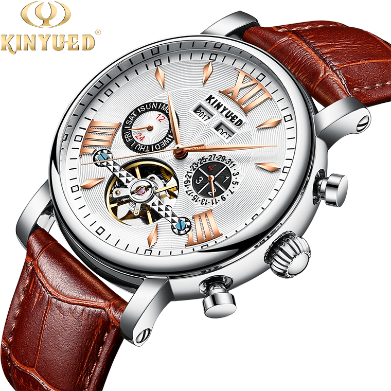 KINYUED automatic mechanical watch genuine leather wristwatch mens watches automatic фото