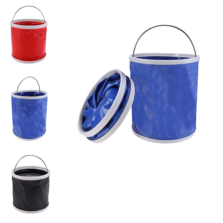 At-Tec Outdoor Compact Collapsible Bucket Foldable Camping Water Container Portable Folding Bucket for Travelling Fishing Boating Hiking and Washing with Towel 11L